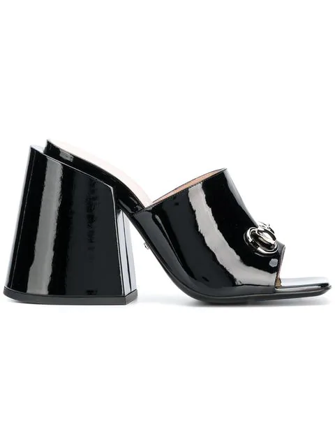 Gucci Patent Leather High-Heel Slide In Black In 1000