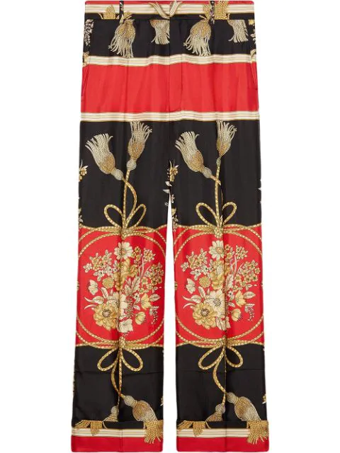 Gucci Flower And Tassel Silk Pants In Black