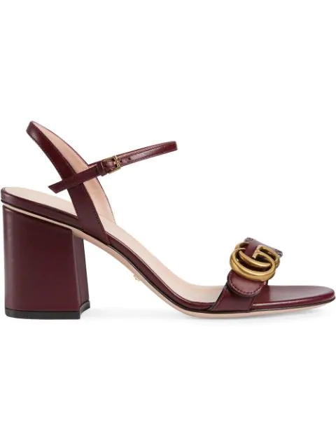 Gucci Double G Leather Mid-Heel Sandal In Burgundy In Red