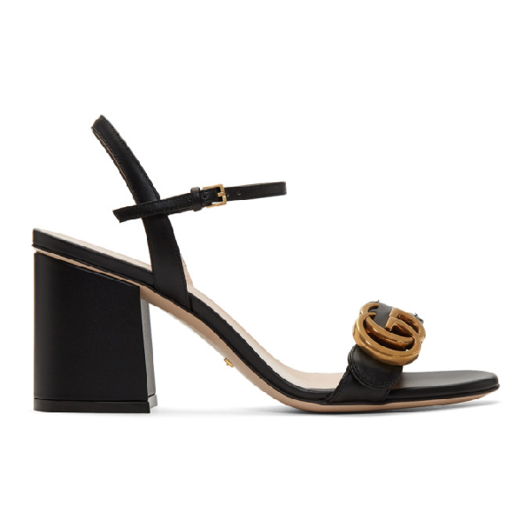 Gucci Marmont Logo-embellished Leather Sandals In 1000 Black