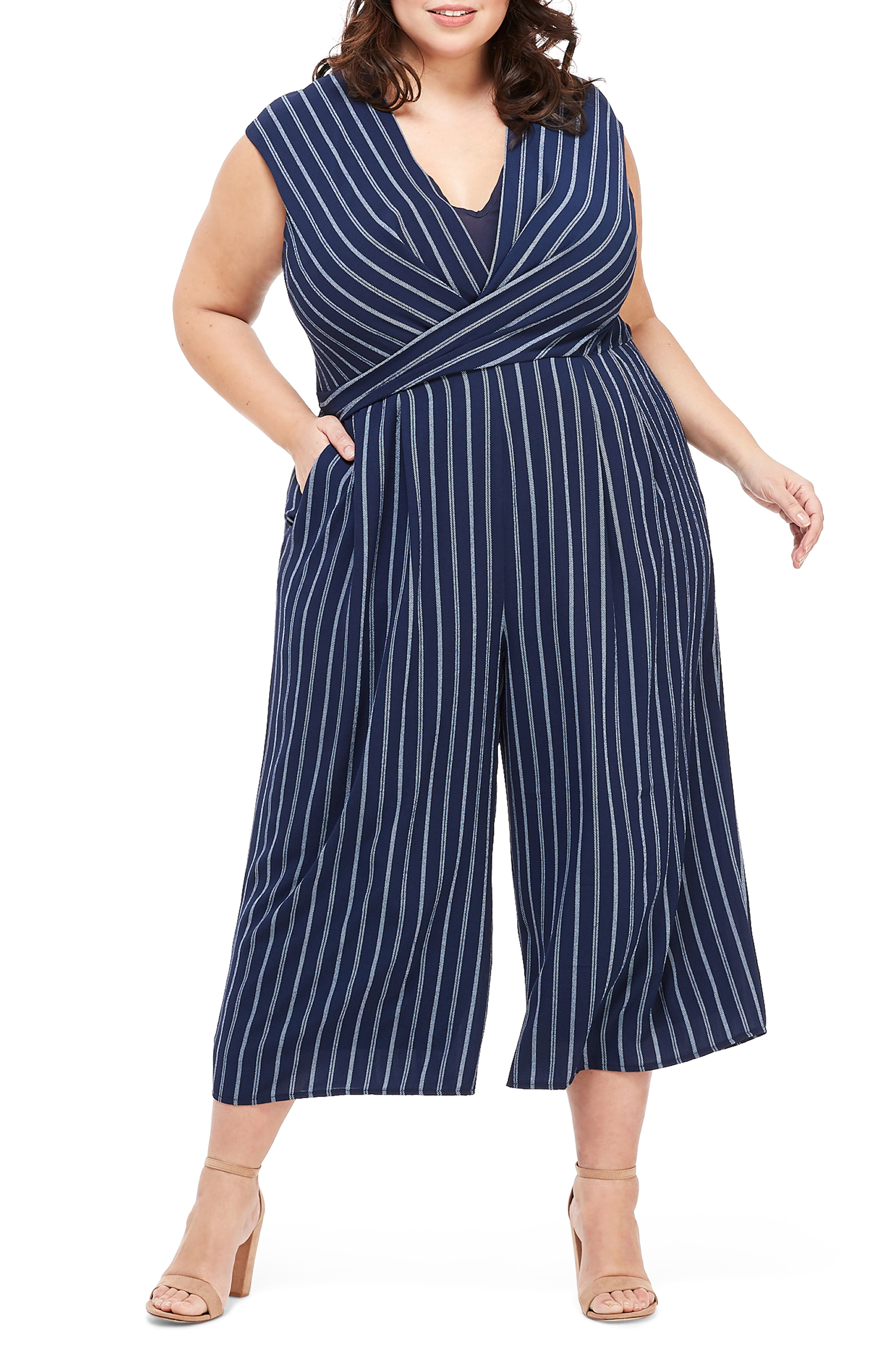 e416bed00572 Maggy London Angie Rope Stripe Crop Jumpsuit In Navy  White