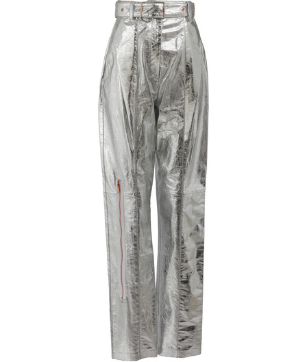 Proenza Schouler Straight Leather Pants In Silver