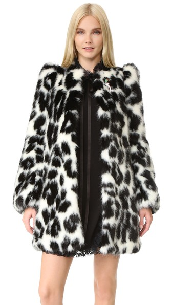 9c86a154f458 Marc Jacobs Embellished Leopard-Print Faux Fur Coat In Bone/Black ...