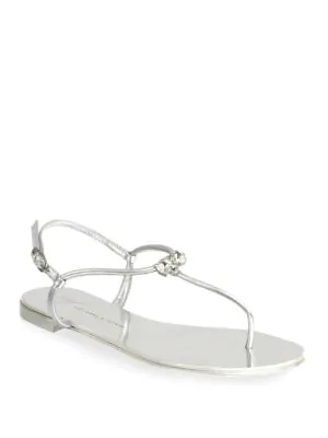 Giuseppe Zanotti Nuvorock Leather Thong Sandals In Silver