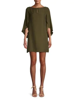 Milly Women's Papillon Silk Dress In Army Green