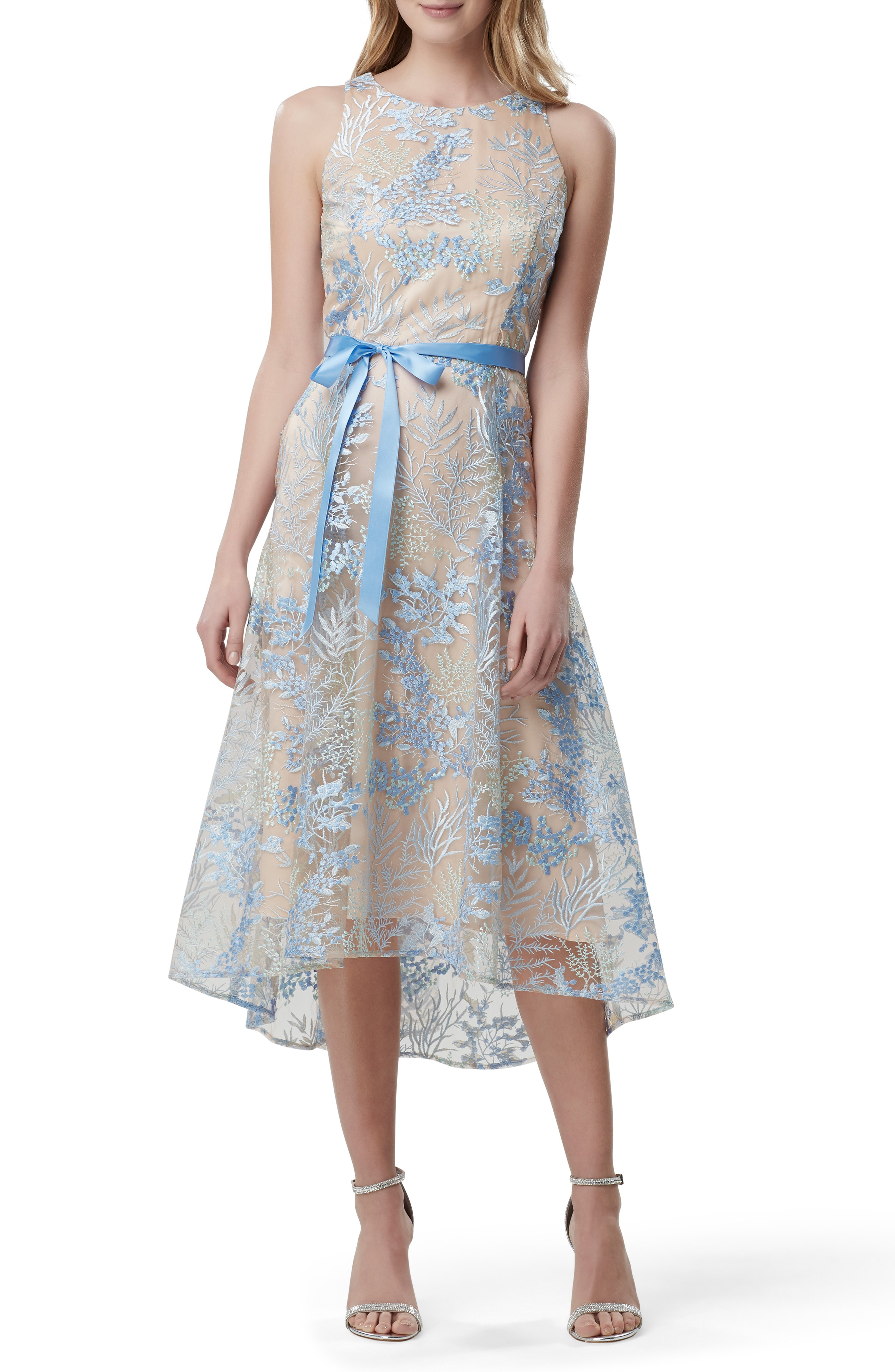 2138e3811f96 Tahari Embroidered Sleeveless High/Low Midi Dress In Powder Blue Embroidery