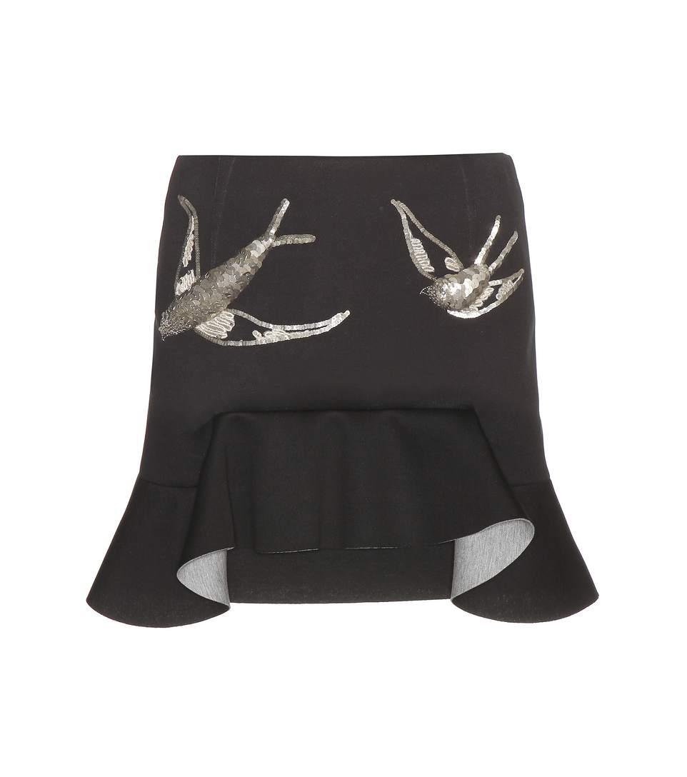 Marni Sequin-Embellished Scuba-Jersey Mini Skirt In Black