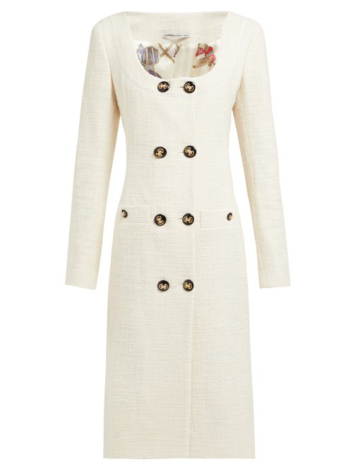Alessandra Rich Double-Breasted Cotton-Blend Tweed Midi Dress In Cream