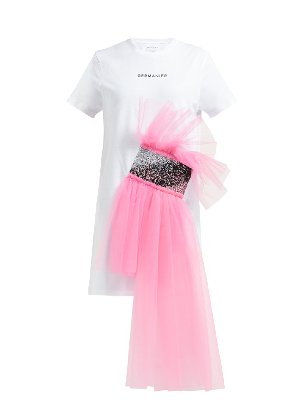 Germanier Tulle And Crystal-embellished T-shirt Dress In White Multi
