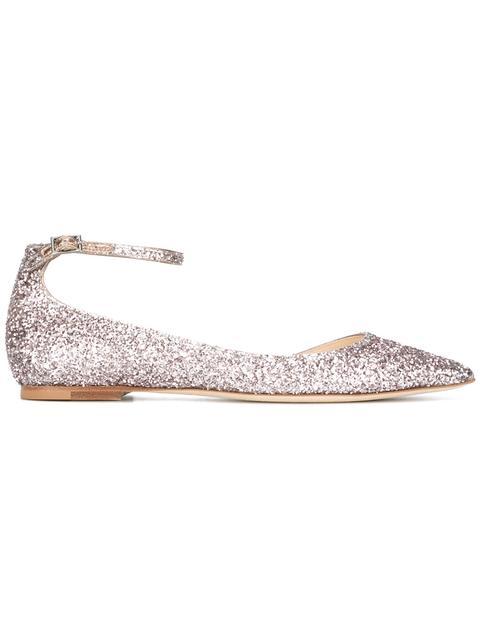 Jimmy Choo Glitter Lucy Ballerinas In Antique Gold|Metallico
