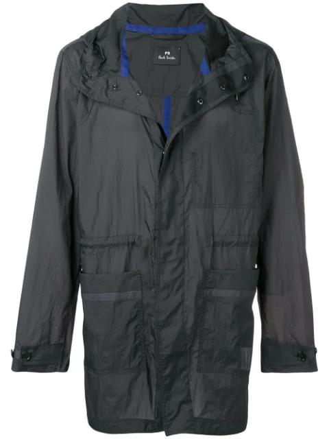 Ps By Paul Smith Parka Lightweight Rain Jacket In Black