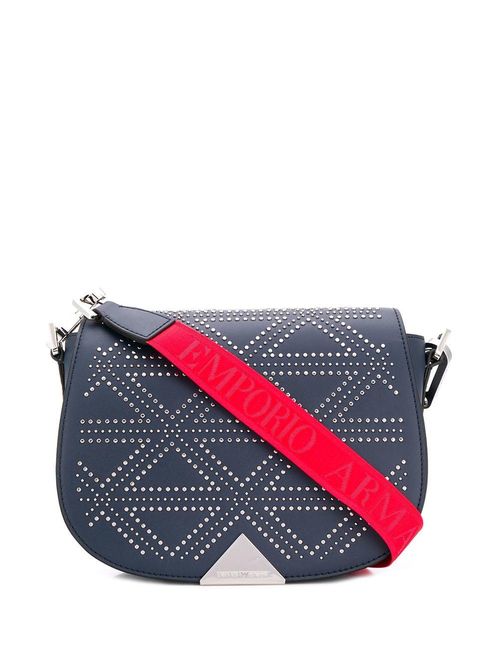 Emporio Armani Studded Shoulder Bag - Blue  9d9348c3524c0