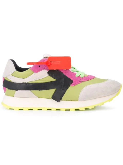 Off-White Leather-Trimmed Suede And Canvas Sneakers In Green