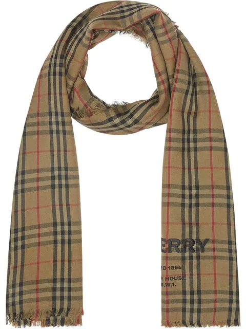 Burberry Embroidered Vintage Check Lightweight Cashmere Scarf In Green