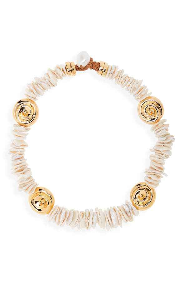 Lizzie Fortunato Aphrodite Goldplated & Freshwater Pearl Collar Necklace In Pearl/ Gold