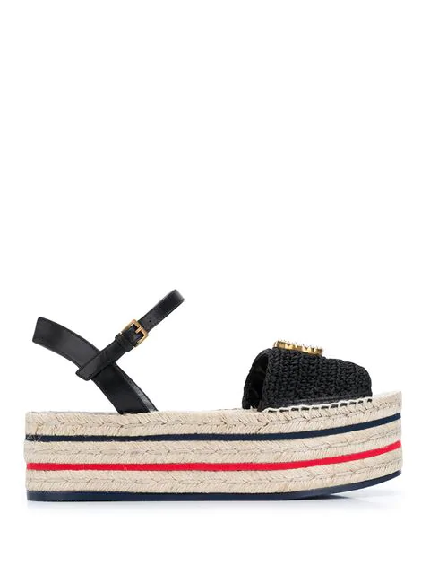 Gucci Lilibeth Platform Espadrille Sandals In Black