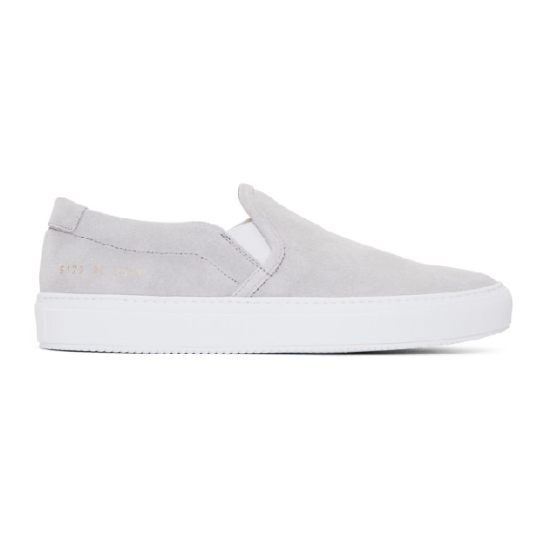 074a759042a4 Common Projects Suede Slip-On Sneakers - White In 7543 Grey | ModeSens