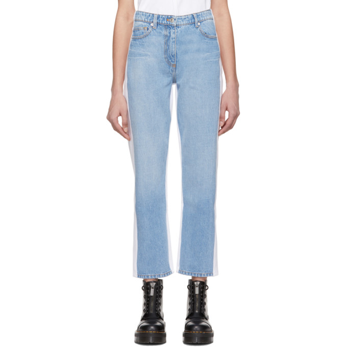 Kenzo Blue And White Slim Boyfriend Jeans In 64 - Sky Bl