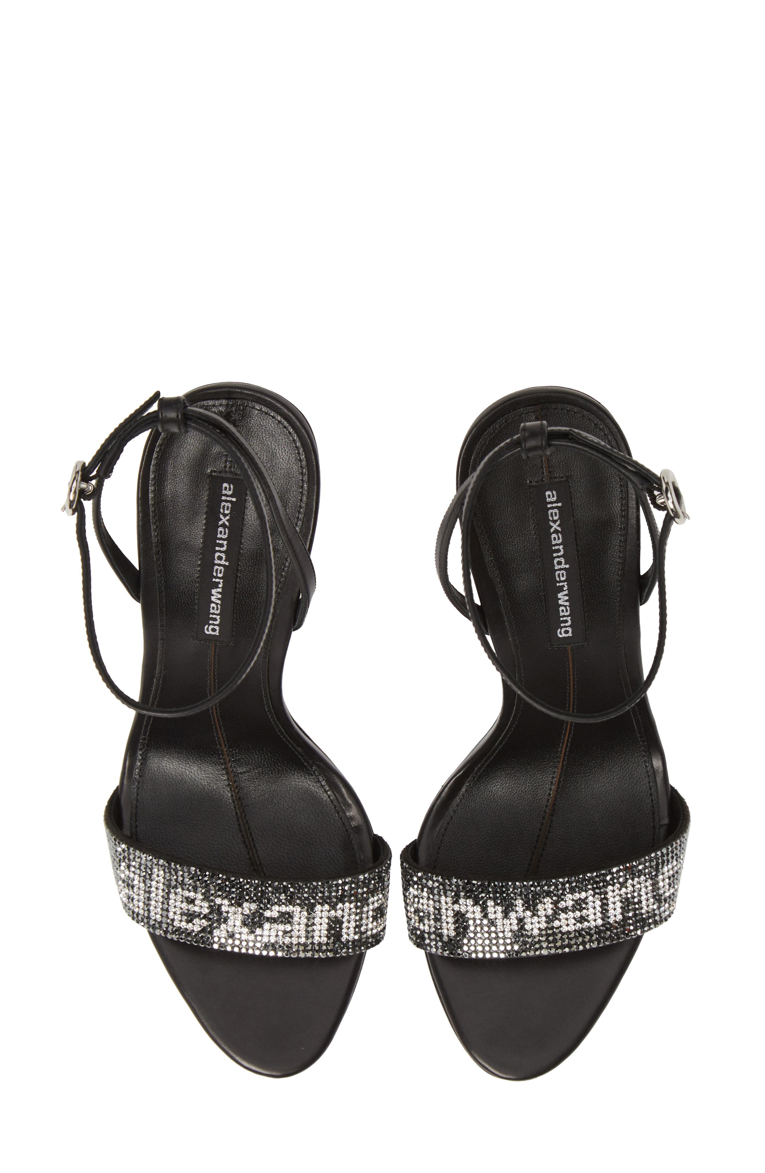 Alexander Wang Jo Crystal Logo Slide Sandals In Black/ Silver