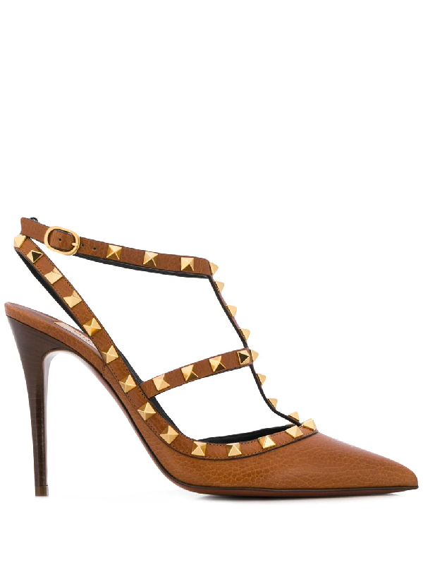 c2e16c7ea78ad Valentino Rockstud Grainy Leather Ankle Strap Pump 100 Mm In Brown ...