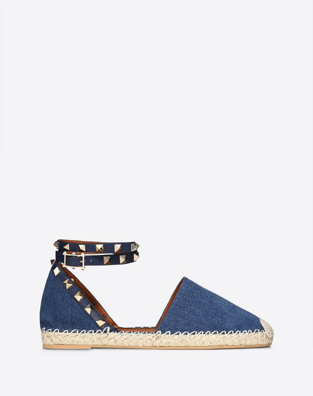 Valentino Denim Rockstud Double Flat Espadrilles In Blue