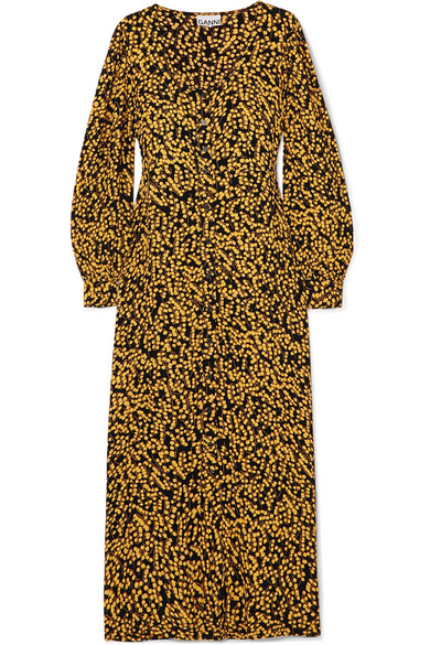 cdc5507f Ganni Floral-Print Crepe De Chine Midi Dress In Black. NET-A-PORTER