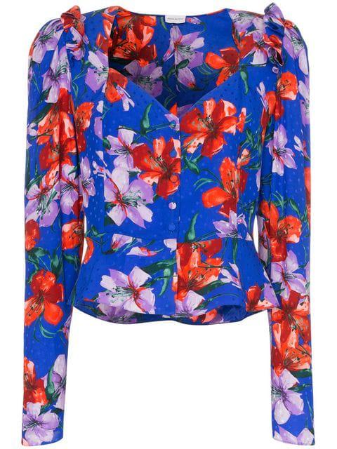Magda Butrym Evora Floral Print Silk Blouse In Blue