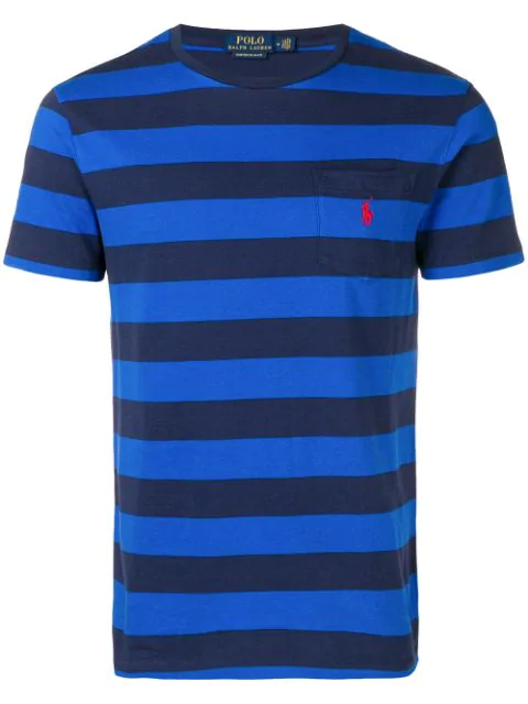 Polo Ralph Lauren Logo Striped T-shirt In Blue