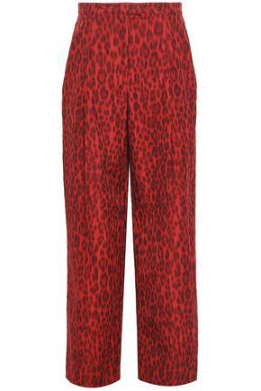 Valentino Woman Leopard-Print Cotton And Silk-Blend Wide-Leg Pants Claret