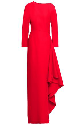 Valentino Woman Draped Crepe Gown Red