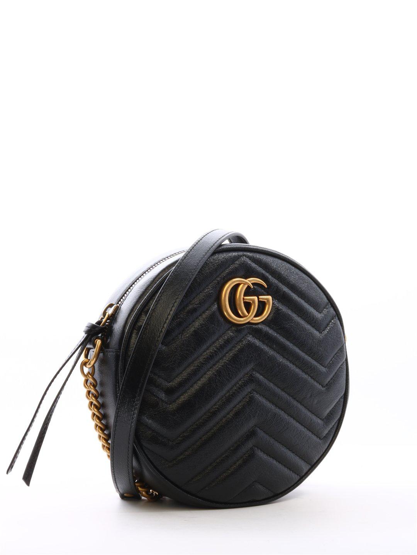 77a6917dcb8e Gucci Gg Marmont Mini Round Matelassé Shoulder Bag In Black | ModeSens