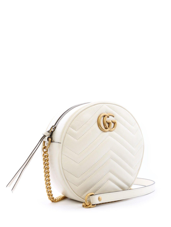 a3bc9c4f36b Gucci Gg Marmont Mini Round Matelassé Shoulder Bag In White