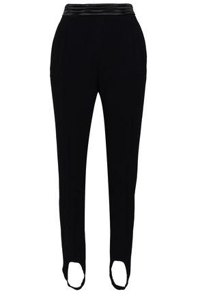 Roberto Cavalli Woman Crepe Tapered Stirrup Pants Black