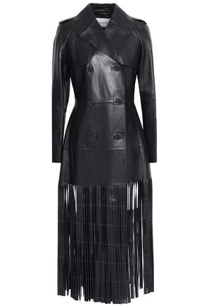Valentino Woman Studded Fringed Double-Breasted Leather Trench Coat Black