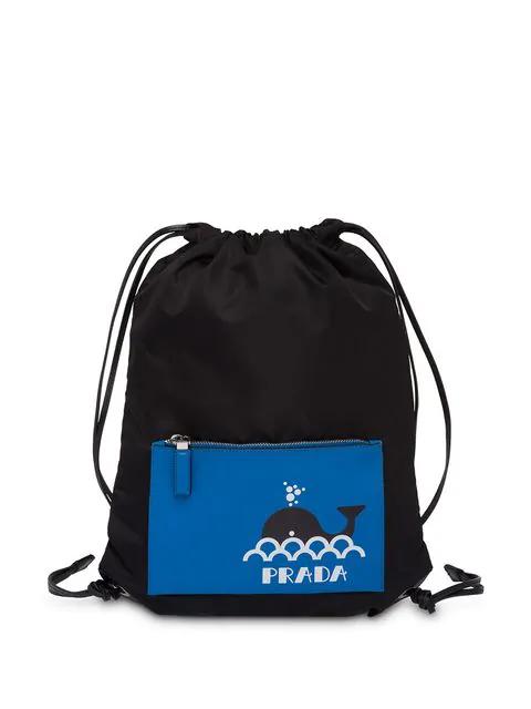 Prada Black And Blue Whale Print Drawstring Backpack