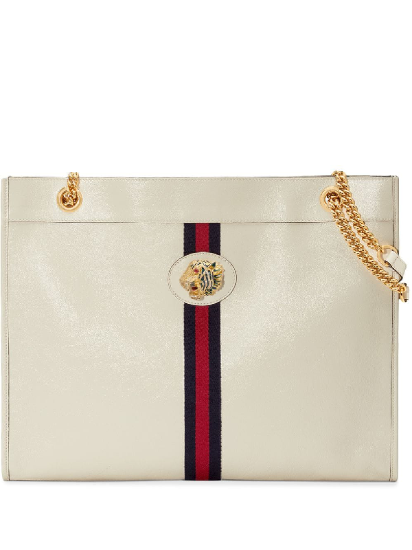 8a4c46c2faf2 Gucci Rajah Large Embellished Textured-Leather Tote In White | ModeSens