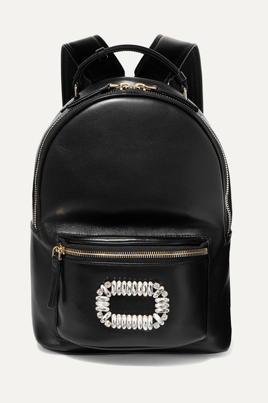 Roger Vivier Sexy Choc Crystal-embellished Glossed-leather Backpack In Black