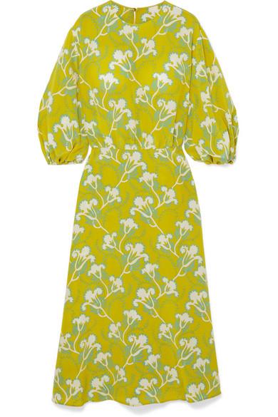 Valentino Floral-Print Silk-Crepe Midi Dress In Chartreuse