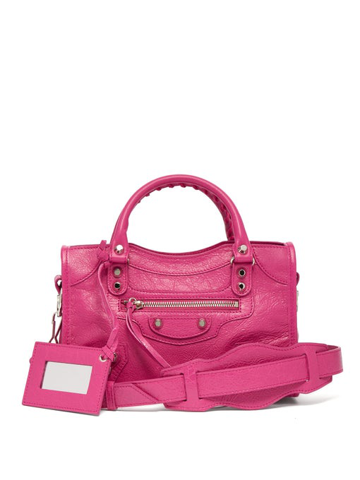 2c3ba2bfc29 Balenciaga Metallic Edge Classic Mini City Crossbody Bag In Pink ...