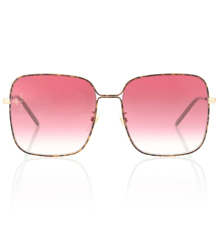 Gucci Oversized Square Sunglasses In Gold