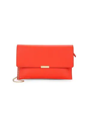 Loeffler Randall Leather Envelope Clutch In Persimmon