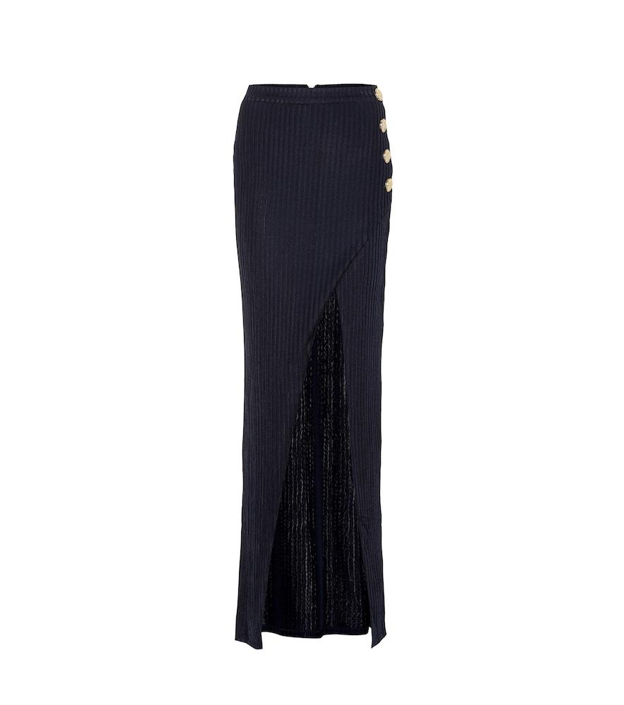 Balmain Ribbed-Knit Maxi Skirt In Blue
