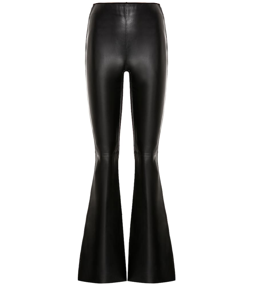Acne Studios Leather And Ribbed-Knit Pants In Black