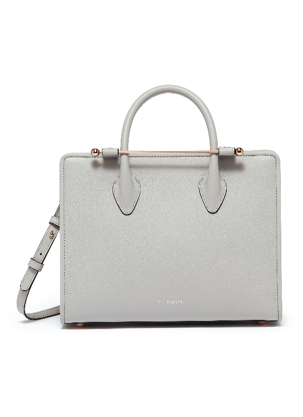 Strathberry 'the  Midi' Leather Tote In Grey