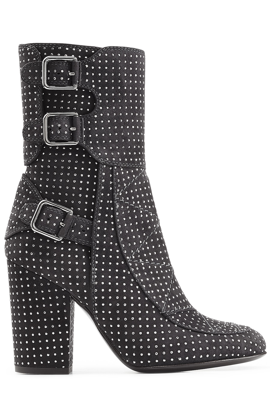 Laurence Dacade Embellished Suede Ankle Boots In Silver