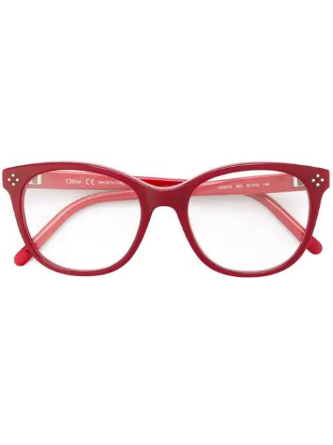 ChloÉ Oval Glasses In Red