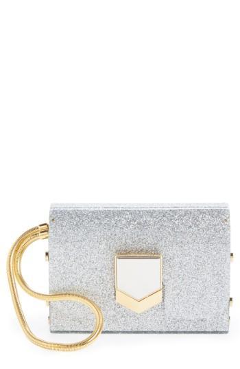 c32e8a5390 Jimmy Choo Lockett Minaudiere Silver Glitter Acrylic Clutch Bag ...