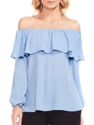 46a9a4f71684 Vince Camuto Ruffled Off-The-Shoulder Blouse In Cameo Blue   ModeSens