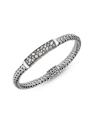 John Hardy Classic Chain Silver & Gemstone Small Bracelet In White Diamond