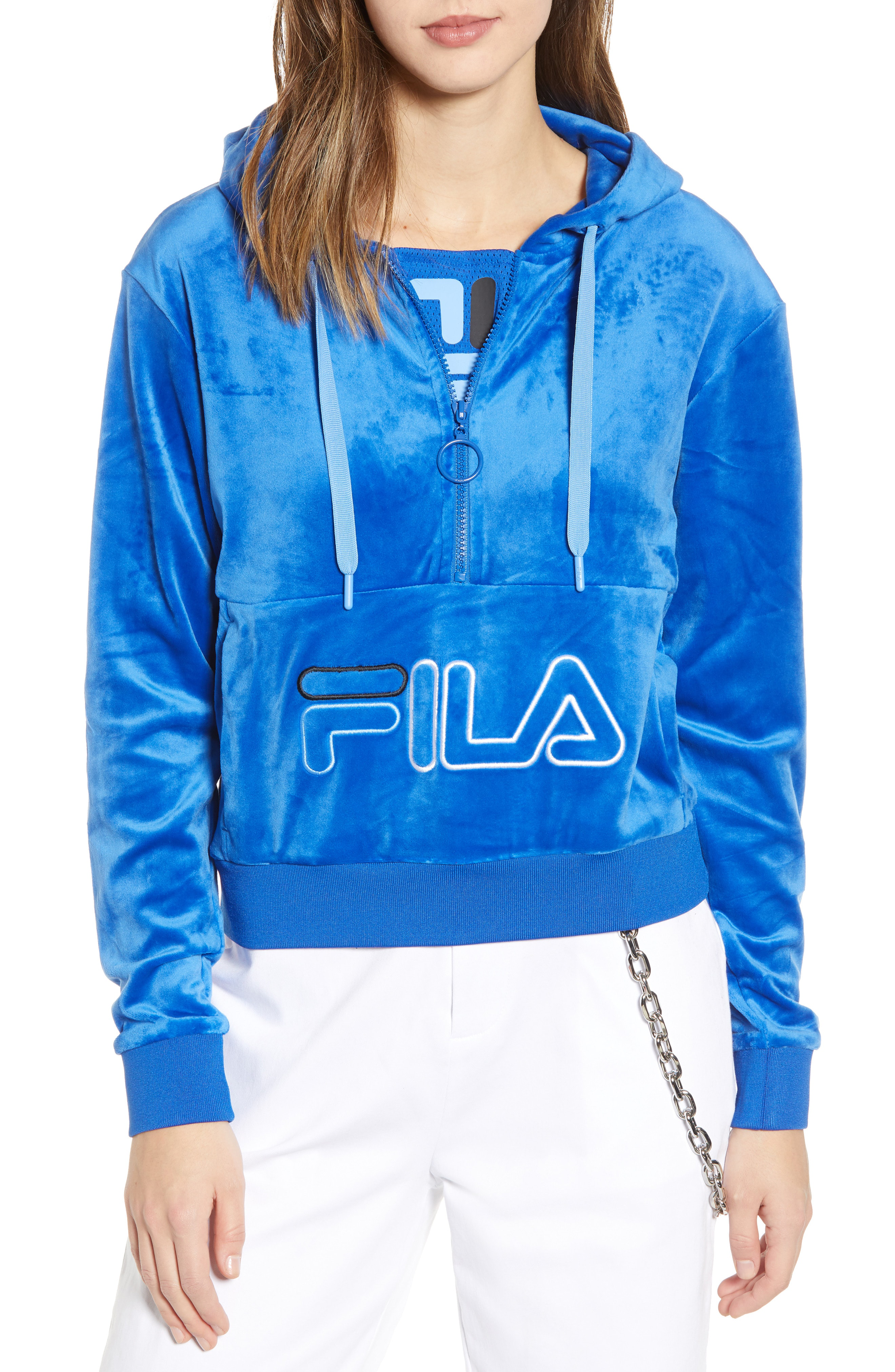ae05760d5b17 Fila Rosella Velour Half Zip Hoodie In Blue Loitte | ModeSens
